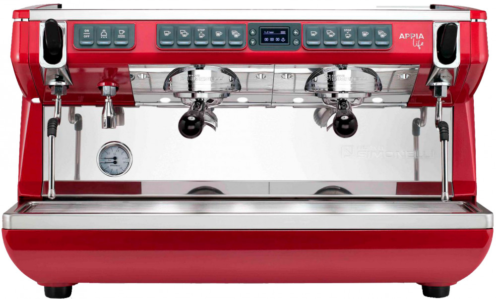 Рожковая кофемашина Nuova Simonelli Appia Life XT 2Gr V 220V red+high groups (168250)